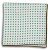 White with Green Polka Dot and Olive Border Pocket Square