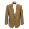 Cognac Cashmere Jacket with Light Blue Windowpane