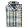 Navy and Tan Plaid Viyella Sport Shirt