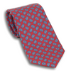 Red with Small Blue Paisley Paisley Patterned Silk Tie