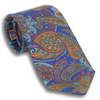 Royal Blue with Multicolored Large Paisley Patterned Silk Tie