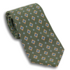 Olive with Multicolor Diamond and Flower Motif Silk Tie