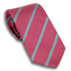 Cranberry and Powder Blue Striped Silk Tie