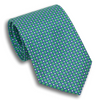 Green with Blue and White Small Square Printed Silk Tie