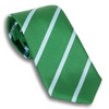 Green and Soft Blue Striped Silk Tie