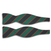 Navy and Green Stripe with Thin Red Stripe Irish Poplin Butterfly Bow Tie