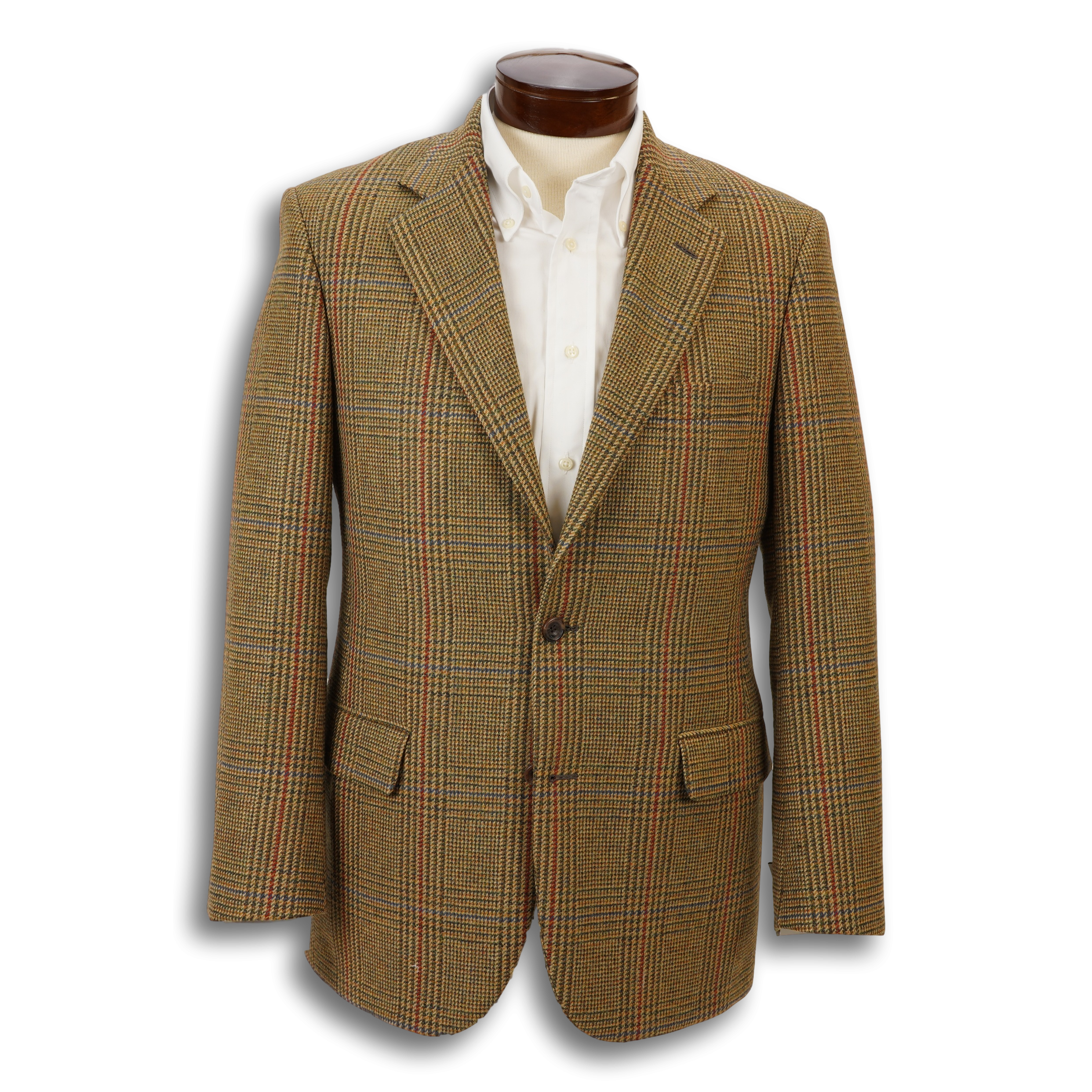 Tan Glen Plaid with Olive, Blue, and Brick Red Windowpane Jacket