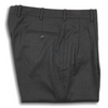 Charcoal Grey Flannel Forward Pleated Trousers