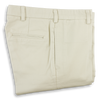 Stone Cotton Twill Plain Front Trousers