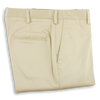 Khaki Stretch Cotton Twill Plain Front Trousers