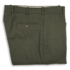 Loden Green Flannel Plain Front Trousers