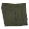 Loden Green Flannel Forward Pleated Trousers