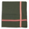 Forest Green with Red Herringbone Stripe Border Pocket Square
