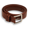 "1 1/8"" Cognac Crocodile Stitched Belt with Nickle Buckle"