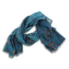 Dark Teal Geometric Print Cashmere and Wool Scarf