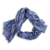 Navy and Sky Blue Floral Print Cashmere and Wool Scarf