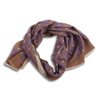Brown and Multicolored Abstract Motif Print Yak and Wool Scarf