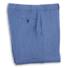 Washed Denim Blue Plain Front Linen Trousers