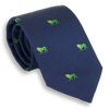 Navy Silk Tie with Lime Lions