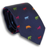 Navy Silk Tie with Multicolored Safari Animals