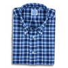 Navy and Blue Plaid Cotton Kashmyl Button Down Sport Shirt