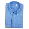 Blue Prince of Wales with Navy Windowpane Broadcloth Button Down Dress Shirt
