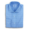 Blue Prince of Wales with Navy Windowpane Broadcloth Spread Collar Dress Shirt