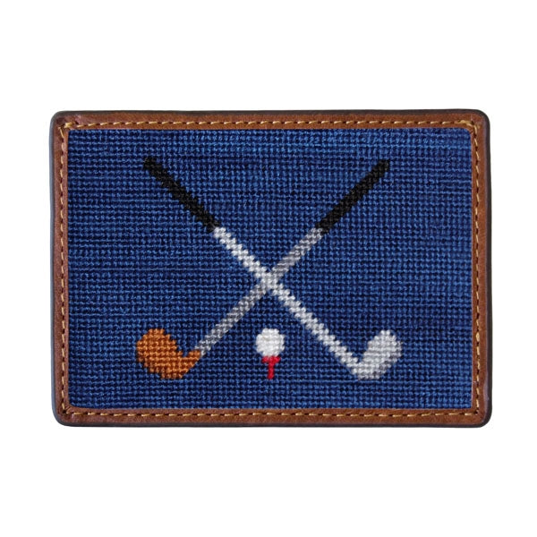 Crossed Golf Clubs Needlepoint Card Wallet