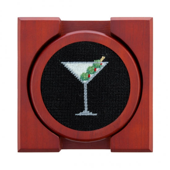 Martini Needlepoint Coasters (Set of 4 with holder)