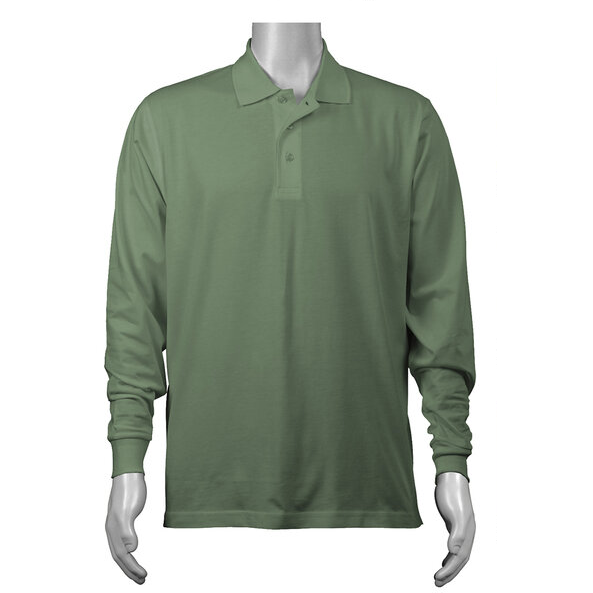 Solid Long Sleeved Jersey Polo with Self Collar