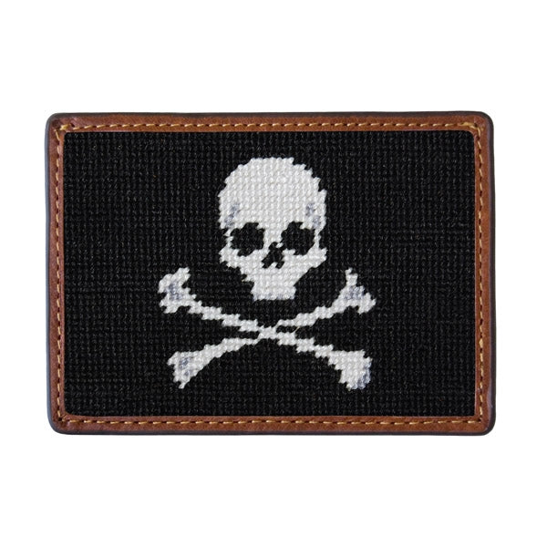 Skull and Crossbones Needlepoint Card Wallet