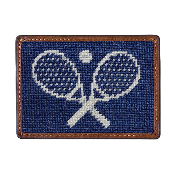 Crossed Tennis Racquets Needlepoint Card Wallet