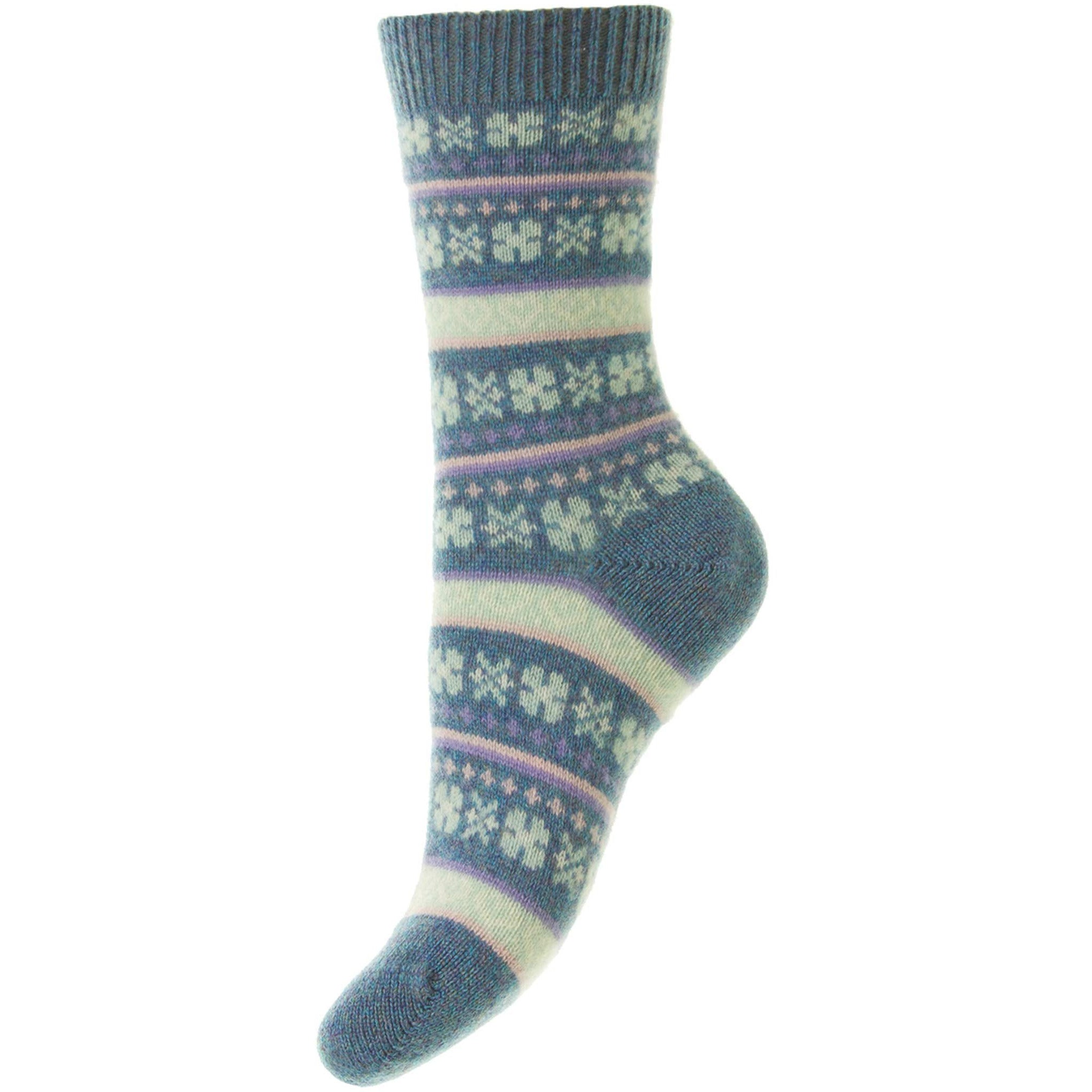 Arabella Heart Fairisle Cashmere Ladies Socks