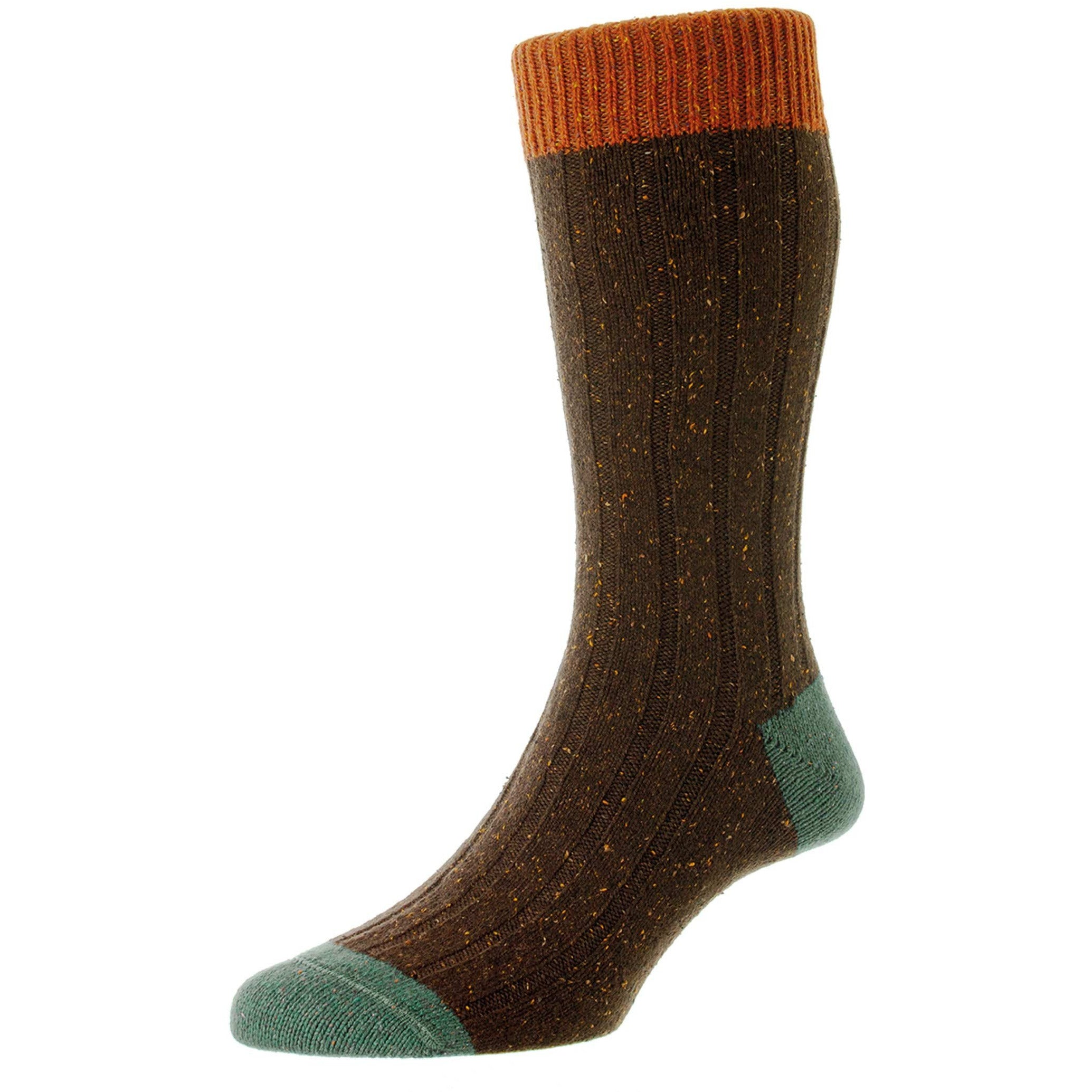 Thornham 6 x 2 Rib with Contrasts Heavy Wool Socks