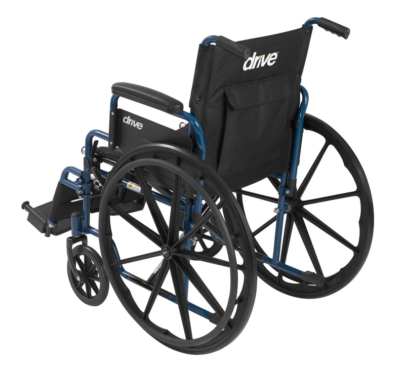 "Blue Streak Wheelchair with Flip Back Desk Arms, Swing Away Footrests, 16"" Seat"