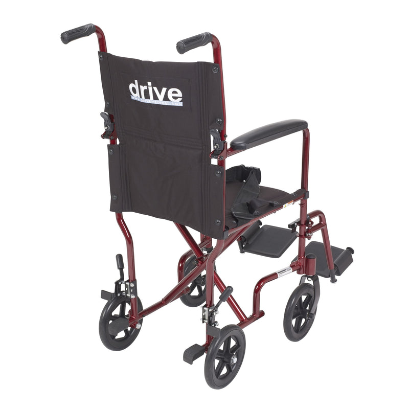 "Lightweight Transport Wheelchair, 17"" Seat, Red"