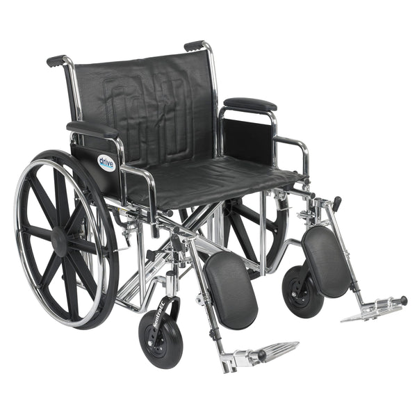 "Sentra EC Heavy Duty Wheelchair, Detachable Desk Arms, Elevating Leg Rests, 24""Seat"