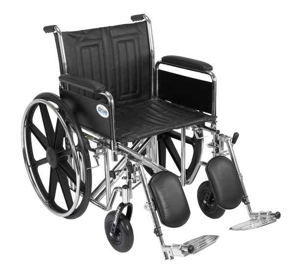 "Sentra EC Heavy Duty Wheelchair, Detachable Full Arms, Elevating Leg Rests, 20"" Seat"