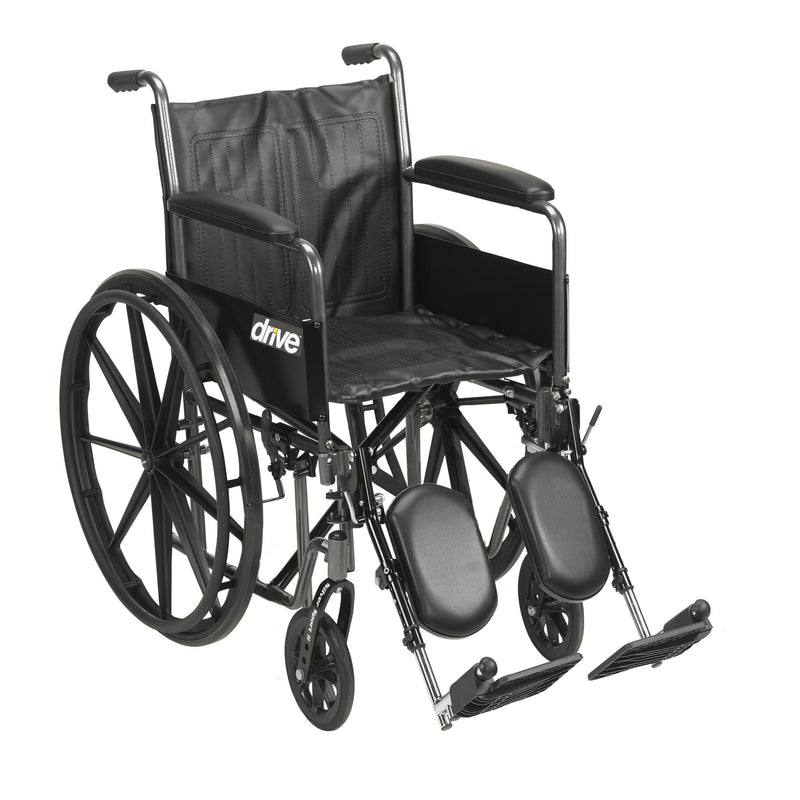"Silver Sport 2 Wheelchair, Detachable Full Arms, Elevating Leg Rests, 16"" Seat"