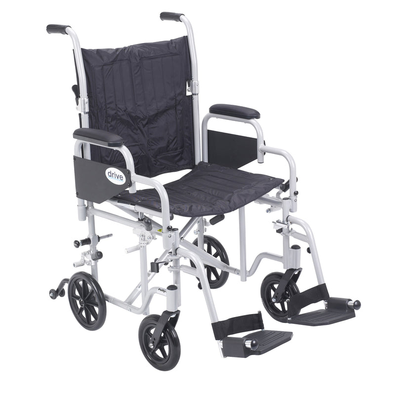 "Poly Fly Light Weight Transport Chair Wheelchair with Swing away Footrests, 20"" Seat"
