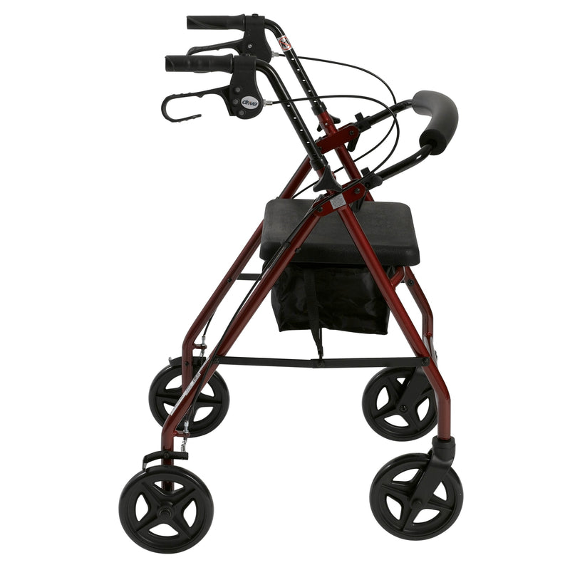 Aluminum Rollator Rolling Walker with Fold Up and Removable Back Support and Padded Seat, Red