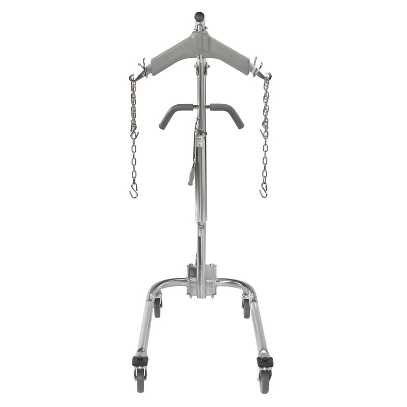 "Hydraulic Patient Lift with Six Point Cradle, 5"" Casters, Chrome"