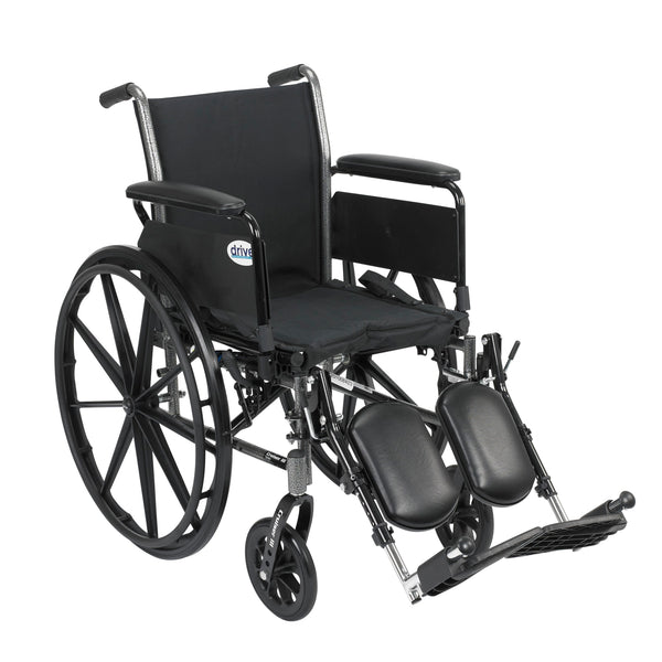 "Cruiser III Light Weight Wheelchair with Flip Back Removable Arms, Full Arms, Elevating Leg Rests, 20"" Seat"