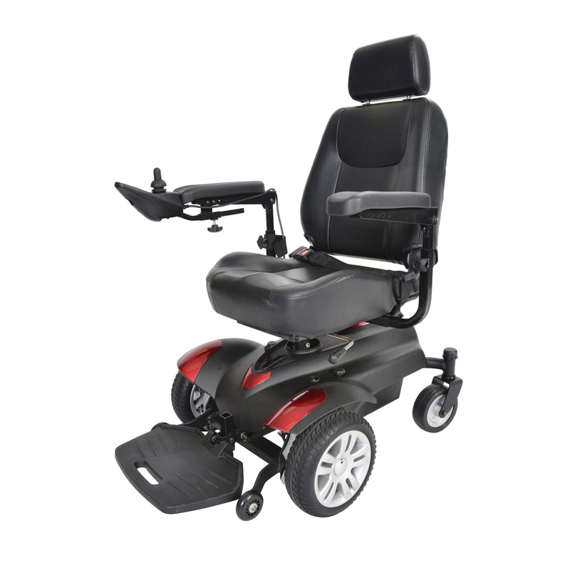 "Titan Transportable Front Wheel Power Wheelchair, Full Back Captain's Seat, 16"" x 16"""