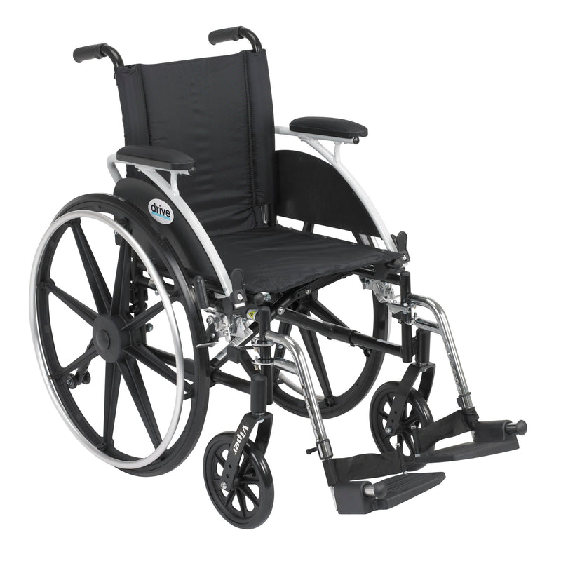 "Viper Wheelchair with Flip Back Removable Arms, Desk Arms, Swing away Footrests, 14"" Seat"