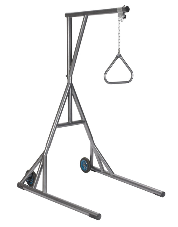 Heavy Duty Trapeze with Base and Wheels, Silver Vein