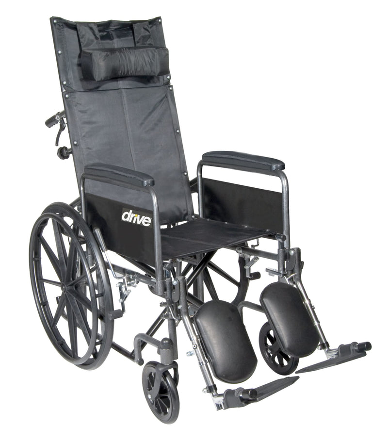 "Silver Sport Reclining Wheelchair with Elevating Leg Rests, Detachable Full Arms, 16"" Seat"