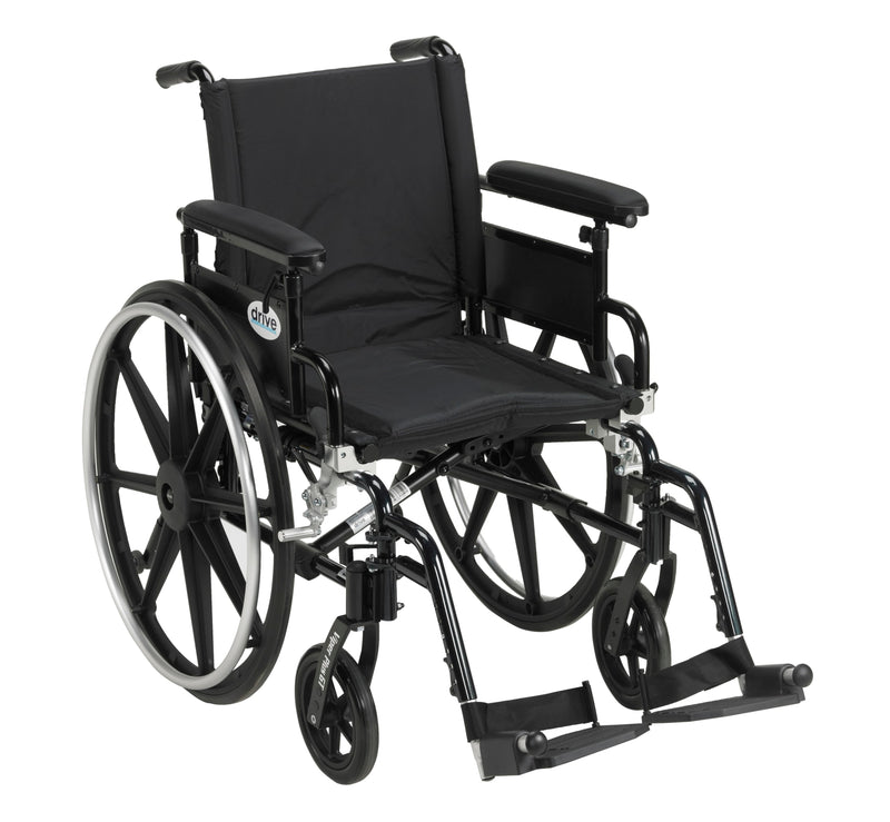 "Viper Plus GT Wheelchair with Flip Back Removable Adjustable Full Arms, Swing away Footrests, 18"" Seat"