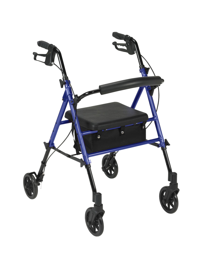 "Adjustable Height Rollator Rolling Walker with 6"" Wheels, Blue"