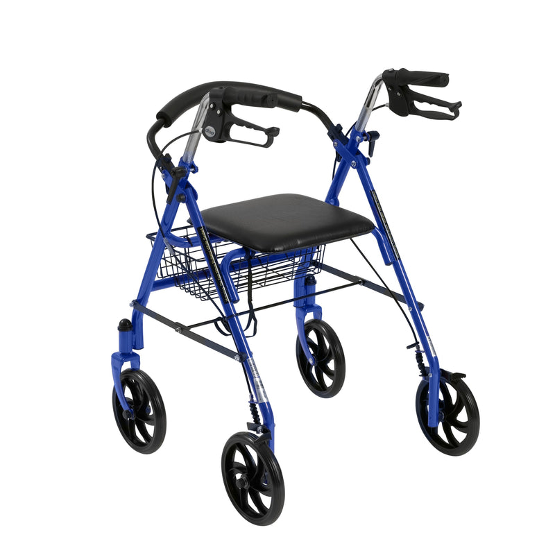 Four Wheel Rollator Rolling Walker with Fold Up Removable Back Support, Blue